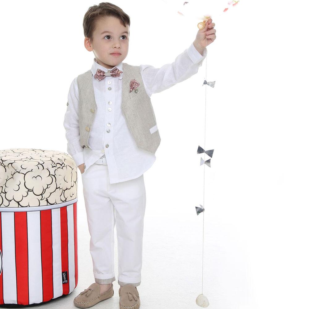 e609ac71da6 Βαπτιστικό Κοστούμι MiChiamo A4063 Μπεζ - Λευκό